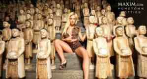 ashley michalsen with monk statues